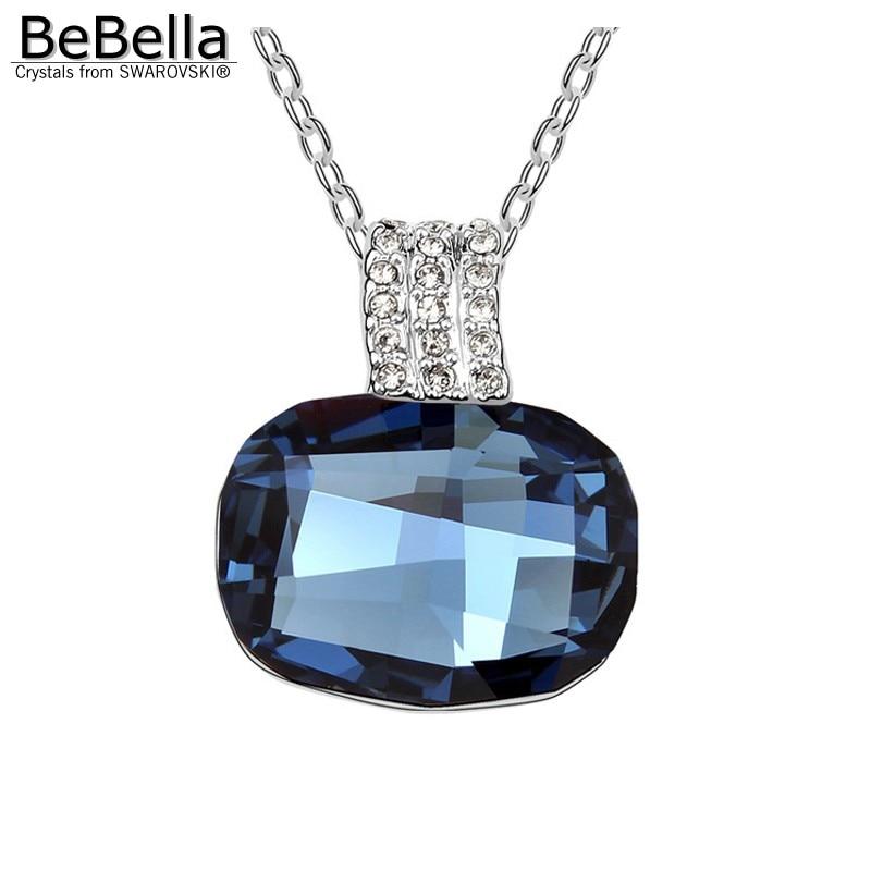 BeBella большой серый Хрустальный каменный кулон ожерелье сделано с австрийскими кристаллами от Swarovski для женщин подарок - Окраска металла: Montana