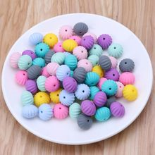 10pcs 15mm Pumpkin Silicone Beads Teething Baby Teether DIY Toy Baby