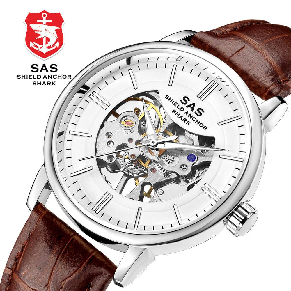 New Arrival Mechanical Wrist watch Men Simple Fashion Hand-winding Watch Waterproof Hollowed Relogio Skeleton Watches SHARK-#811