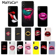 MaiYaCa Sexy Girl red Lips black Smart Cover Transparent Soft Phone Case for Apple iPhone 5 5S 6 6S 7 8 Plus X XS MAX SE XR maiyaca colorful art african girl transparent soft shell phone case for apple iphone 7 6 6s plus x xs max 5 5s se xr 8 cover