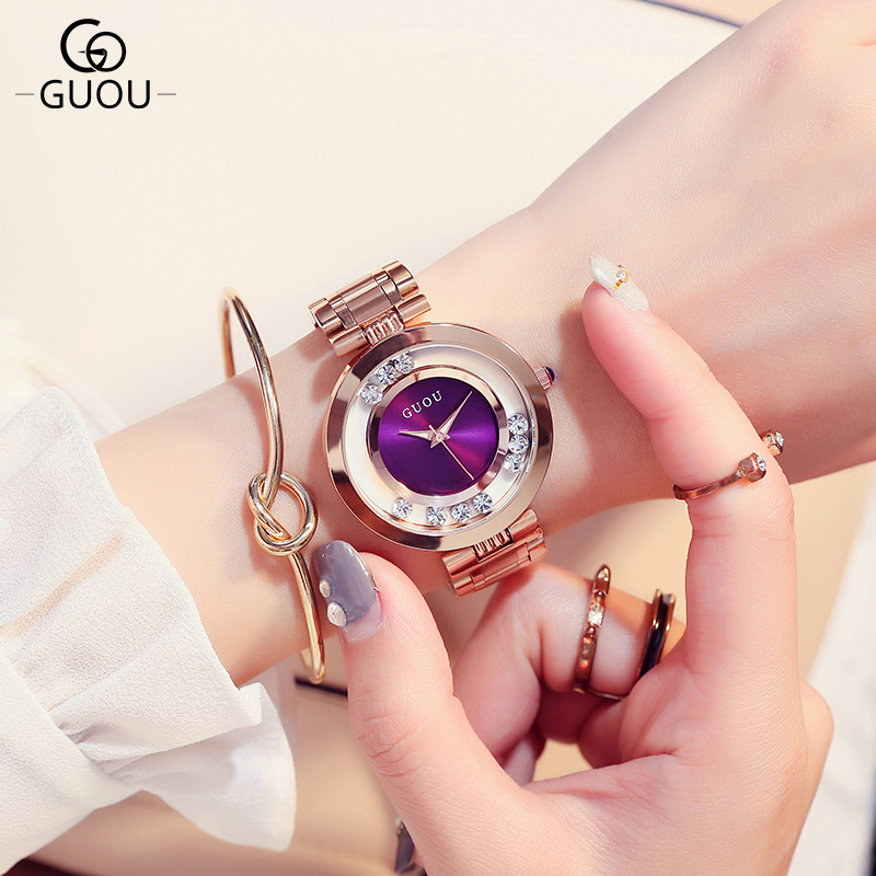 GUOU Brand Glitter Diamond Watch Women Watches Luxury Rhinestone Women's Watches Rose gold Ladies Watch Clock saat reloj mujer guou luxury shiny diamond watch women watches rose gold women s watches ladies watch clock saat relogio feminino reloj mujer