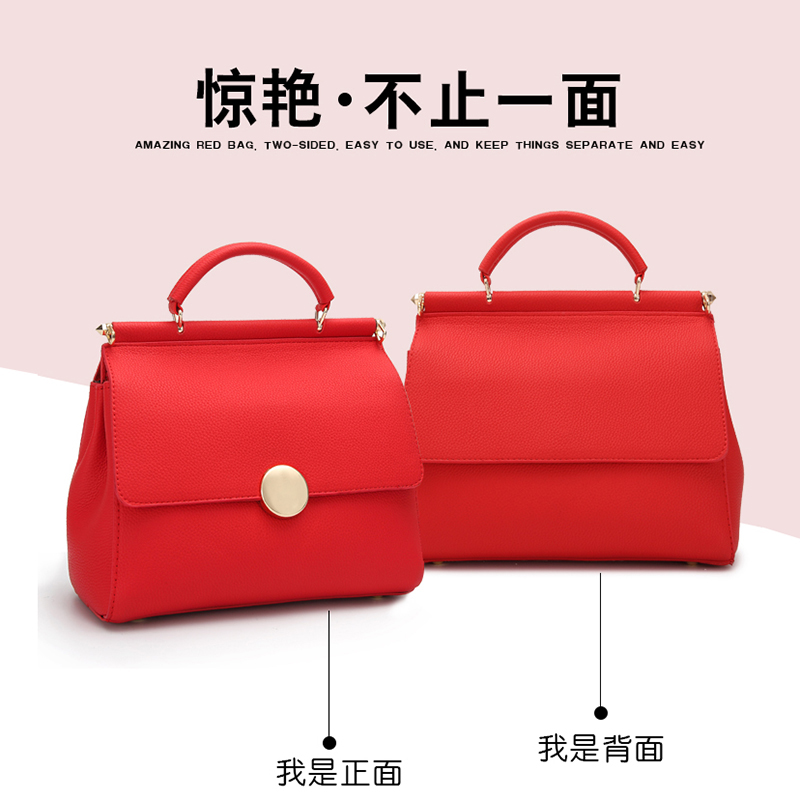 A red bag, a married woman, a handbag, a bridesmaid, a satchel, a bridal bag, 2018 new Korean models, a shoulder bag.