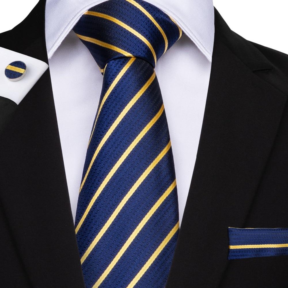 DiBanGu Striped Men Tie Blue Hanky Cufflinks Sets Men's Silk Wedding Tie For Men 160cm Length 8.5cm Tie Business Party Cravatte