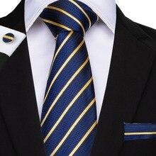 DiBanGu Striped Men Tie Blue Hanky Cufflinks Sets Mens Silk Wedding For 160cm Length 8.5cm Business Party Cravatte