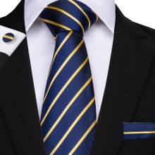 DiBanGu Striped Men Tie Blue Hanky Cufflinks Sets Mens Silk Wedding Ti