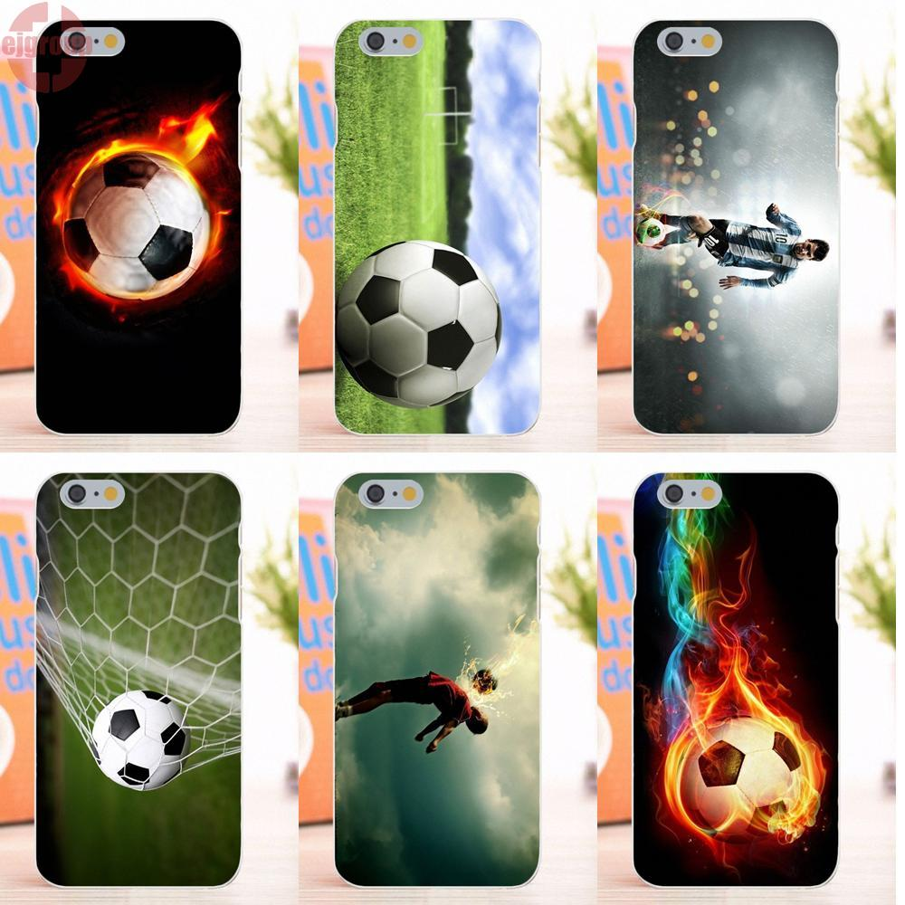 EJGROUP For Apple iPhone 6 6S 4.7 inch Soft TPU Silicon Phone Cases Fire Football Soccer Ball