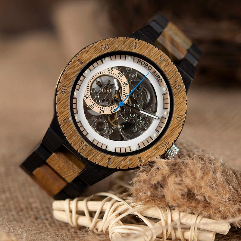 BOBO ptak drewniane zegarek mechaniczny Reloj masculino męskie zegarki Top marka luksusowe zegarki z koralik bransoletka Orologio da uomo w Zegarki mechaniczne od Zegarki na  Grupa 3