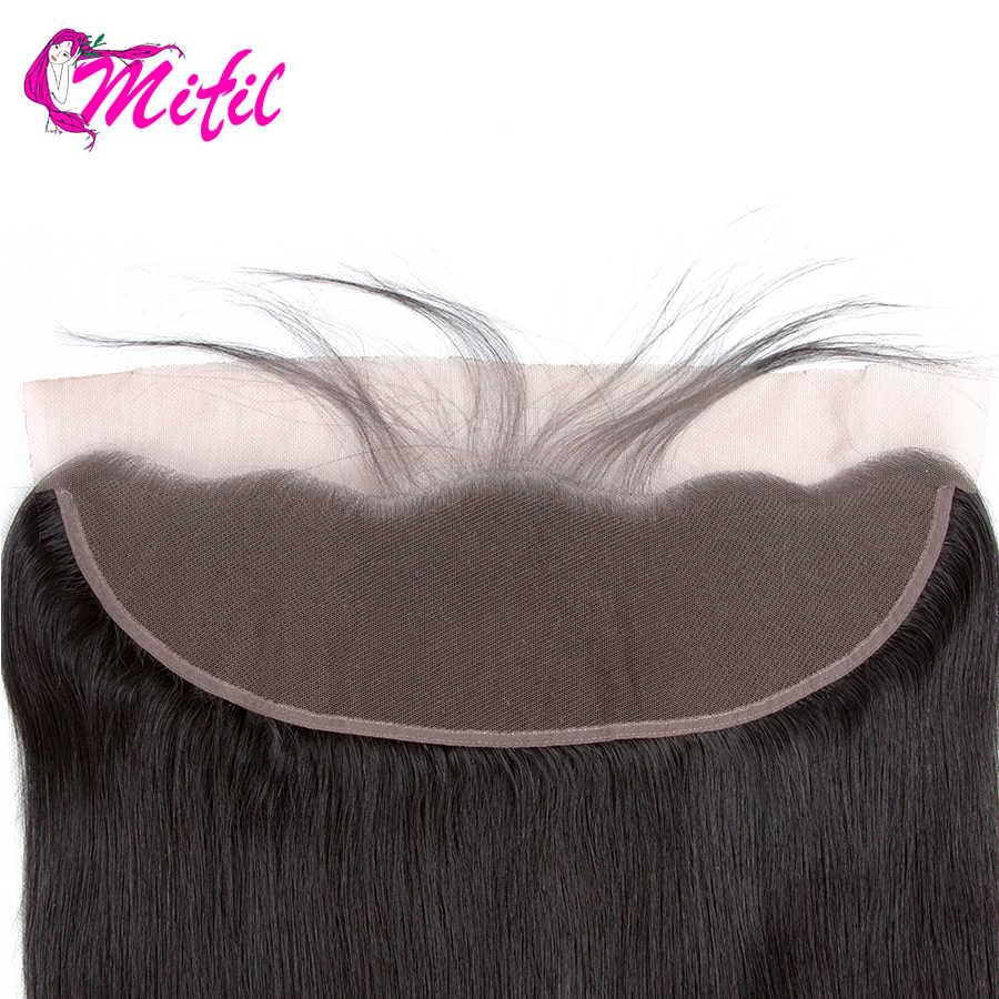 Mifil волосы бразильские прямые 13X4 уха до уха Кружева Фронтальная Закрытие человеческих волос не remy Кружева Фронтальная Закрытие с волосами младенца