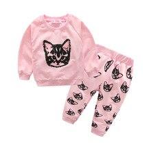HOT 2017 Cotton Children Cats Baby Boys Girls Clothes Set kids Clothing suit t shirt+Pants 2Pcs/set
