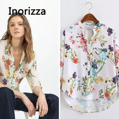 342f515e6219b9 European Style 2019 Spring New Arrival Women Stylish Casual Floral Print V-neck  Shirt