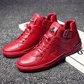 2017 Vermelho/Preto sapatos de desporto homem inverno lace up zapatillas hombre homens formadores sapatos de qualidade superior dos homens da primavera botas sneakers tornozelo