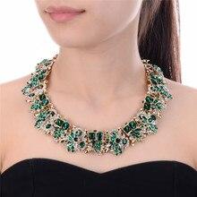 Женское Ожерелье с цветком стразы, 4 цвета