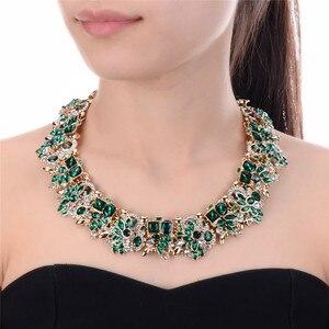 Image 1 - JEROLLIN 4 Colors Glass Rhinestone Flower Necklaces Women Fashion Crystal Jewelry Charm Choker Statement Bib Collar Necklace