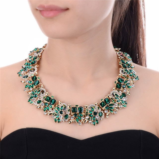JEROLLIN 4 Colors Glass Rhinestone Flower Necklaces Women Fashion Crystal Jewelry Charm Choker Statement Bib Collar Necklace
