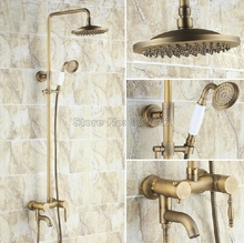 Antique Brass Wall Mounted Bathroom Single Handle Bathtub Mixer Tap & Rain Shower Faucet Set with 8 inch Shower Head Wrs151