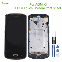 """روسون AGM X1 شاشة الكريستال السائل وشاشة تعمل باللمس 5.5 """"محول الأرقام مع الإطار الجمعية إصلاح أجزاء ل AGM X1"""