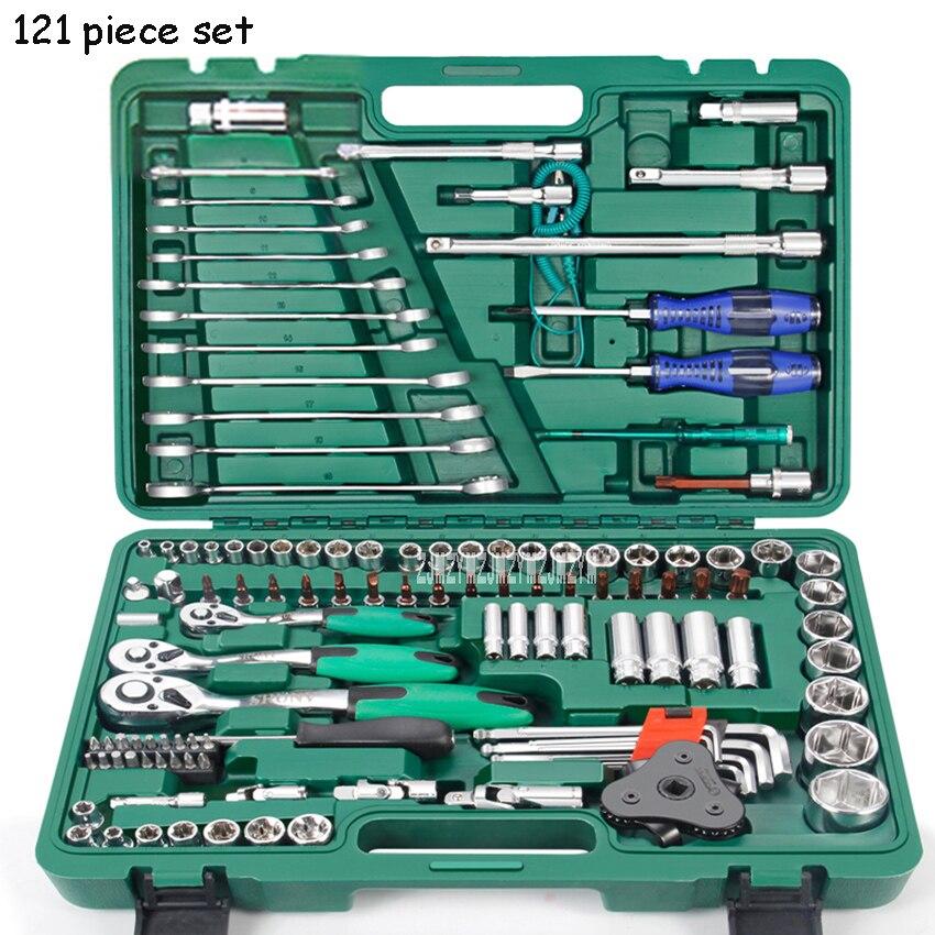 LSQXIGJ 01 121 piezas Juego de herramientas de reparación de automóviles caja de herramientas de llave de hogar Kit de reparación de trinquete herramientas de mano desmontaje de neumáticos