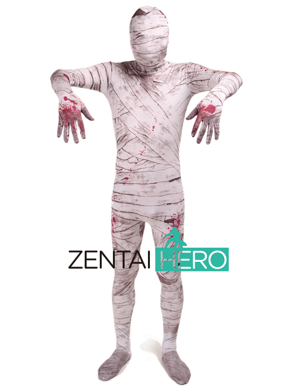 Free Shipping DHL NEW Zombie Mummy Pattern Dyeing Lycra Spandex Zentai Suit Cosplay Zentai Halloween Costume For Events LZ112231
