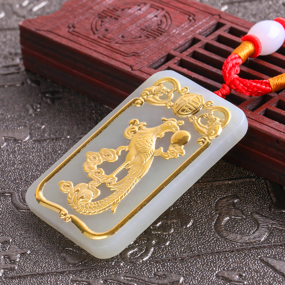 2018 Natural HeTian Yu 100% Pure Solid 24k Gold Phoenix Lucky Amulet Pendant + Necklace + Certificate Fine Jewelry 8615