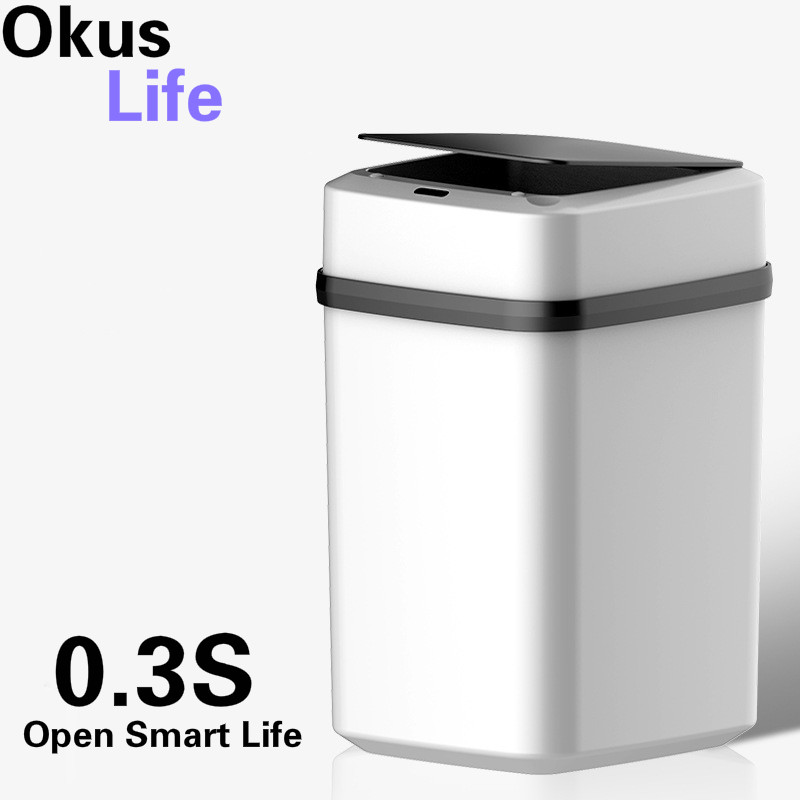 0 3S Automatic Intelligent Sensor Smart Trash Can Dustbin Lid Motion Detector Kitchen Bedroom Energy Saving No Noise 10L Capacit in Waste Bins from Home Garden