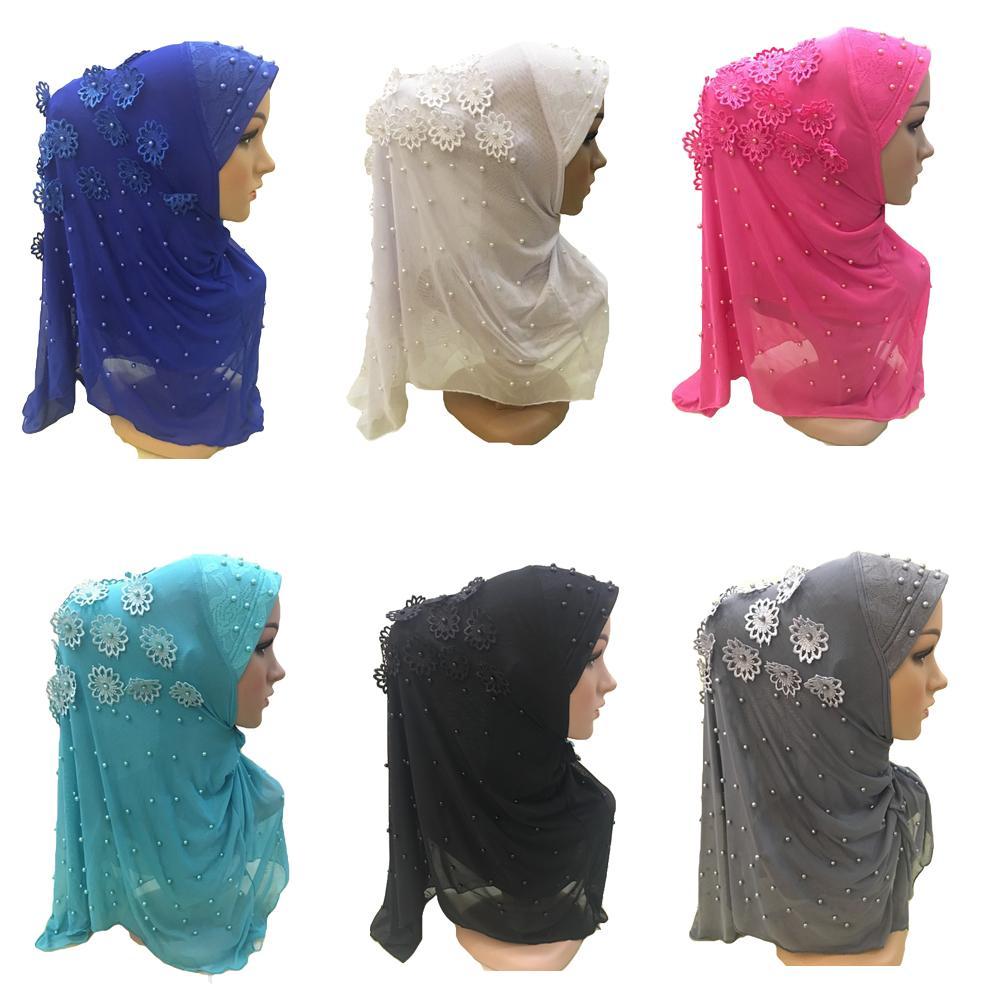 Una pieza musulmán Hijab islámico cuentas flor bufanda Amira pañuelo mujer pañuelos de turbante cabeza Khimar velo Niquabs cuello cubierta