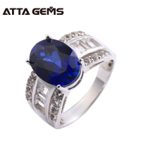 Blue Saphire 925 Silver Ring Unisex Creatd Sapphire Silver Ring 6.5 Carat For Women Fashion Silver Sapphire Ring Party And Gifts
