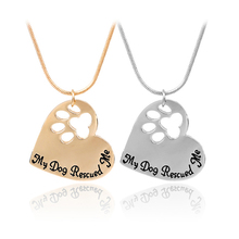 Pet Memorial Jewelry My Dog Rescued Me Engraved Paw Print Lover Heart Shaped Pendant Necklace Animal Keepsake Charms
