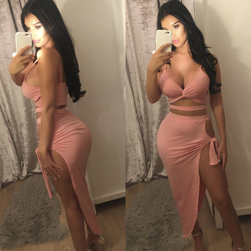 2020 Fashion Sexy Evening Party Dress Summer 2PCS Sets Sleeveless Strapless Bandage Solid Skinny Tops Skirts Clothes Sets
