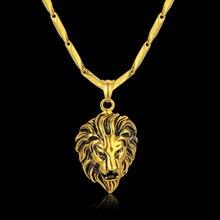 Gold Statement Necklace Unique Lion Neck Necklaces Pendants for Men Gold Color Punk Stainless Steel Men Chain Collar 2018