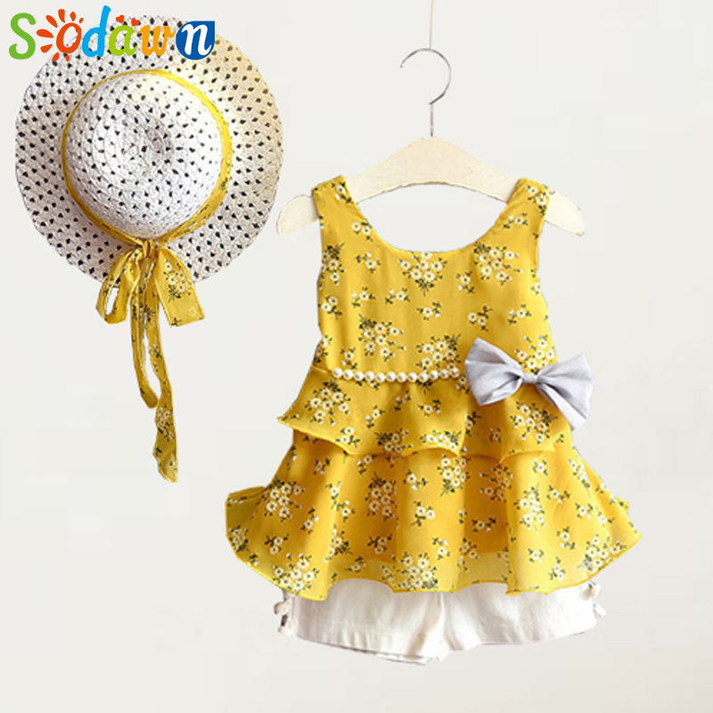 Sodawn 2018 New Summer Girls Clothing Set Fashion Printing Sundress Pearl Bow Dress+Shorts+Hat Suit 3PCS Baby Girls Clothes 2016 summer europe fashionable girls cute girls short bow wave shorts cotton suit birthday gift for girls