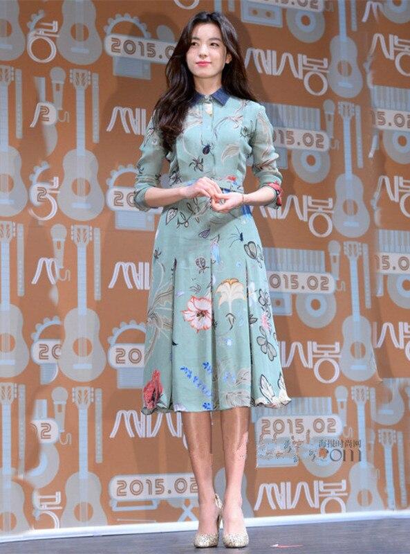 Long À Revers Floral short Imprimé Élégant Nouveau France Robe D089 Printemps Été Sleeve Style Manches Longues Chemise 2018 Sleeve Wq4gFZ