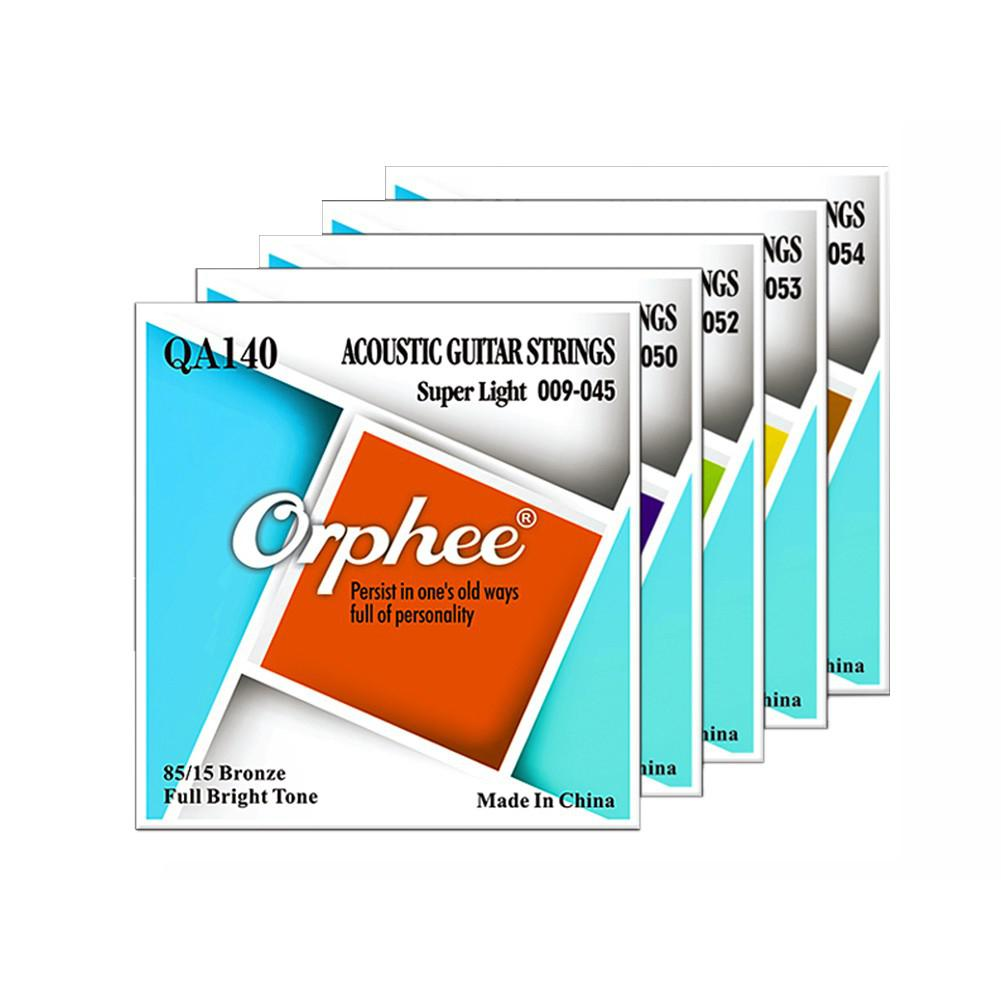 Orphee QA Series 6Pcs Acoustic Folk Guitar Strings Hexagonal Steel Core 80/20 Bronze Wire Super Light Tension Guitar Accessories