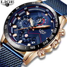 2019 New Gold Blue Clock LIGE Mens Watches Top Brand Luxury Fashion Mesh belt Stainless Steel Quartz Watch For Men Reloj Hombre