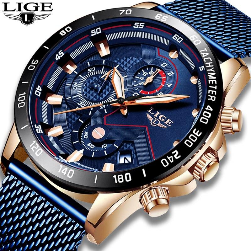 2019 nouveau or bleu horloge LIGE hommes montres Top marque de luxe mode maille ceinture en acier inoxydable Quartz montre pour hommes Reloj Hombre