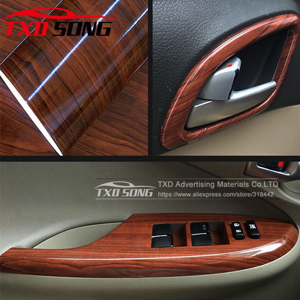 10/20/30/40/50/60x152CM Glossy WOOD PVC VINYL FILM GLOSSY WOOD GRAIN STICKER FOR CAR INTERIOR DECORATION BY FREE SHIPPING(China)