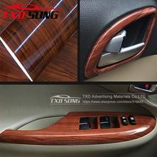 10/20/30/40/50/60x152CM Glossy WOOD PVC VINYL FILM GLOSSY WOOD GRAIN STICKER FOR CAR INTERIOR DECORATION BY FREE SHIPPING