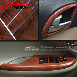 Image 1 - 10/20/30/40/50/60x152CM Glossy WOOD PVC VINYL FILM GLOSSY WOOD GRAIN STICKER FOR CAR INTERIOR DECORATION BY FREE SHIPPING