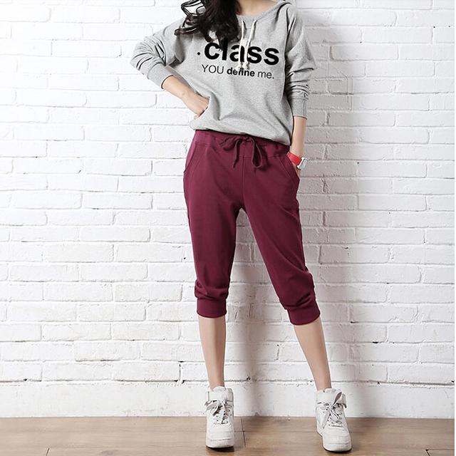 2017 Novas Mulheres de Verão Harem Pants Casuais Femininas calças s Calças Compridas de Algodão das Mulheres Sete Calças Capris Curto B339