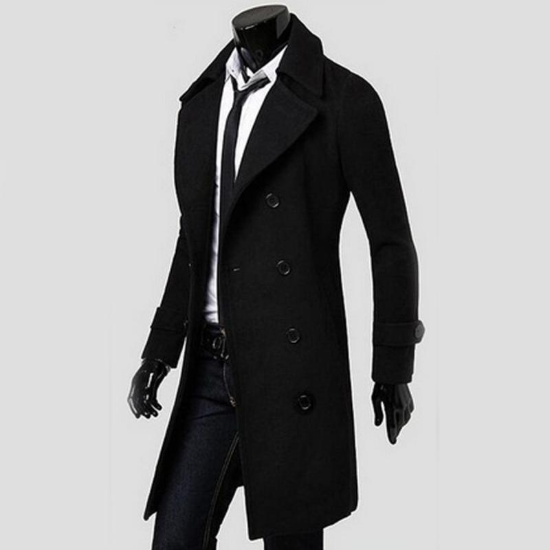 Mens Classic Fit Trench Coat Long Double Breasted Overcoat Outerwear Pea Coat