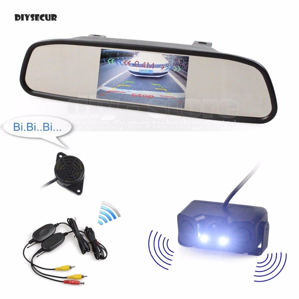 DIYSECUR Wireless Auto Parking Monitor System Waterproof Parking Radar Sensor Car Camera 4 3 inch Car