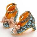 50 par/lote Nuevo Arco de La Manera High Top Zapatos Botas Hechas A Mano Del Bebé Recién Nacido Niñas Bombas Calzado de Tacón Alto de La Princesa zapatos