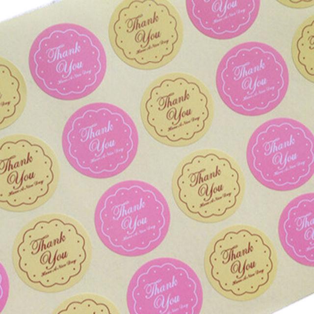 48 piezas para sellos de boda amarillo Rosa colores gracias diseño pegatina etiquetas alimentos sellos regalo pegatinas al por mayor