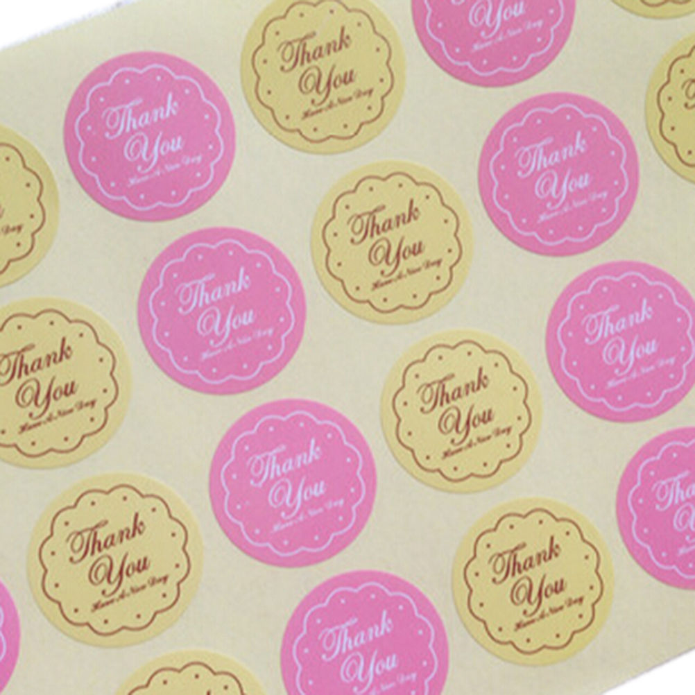48Pcs  for Wedding seals  Yellow Pink Colors THANK YOU Design Sticker Labels food Seals Gift Wrap stickers  Wholesale