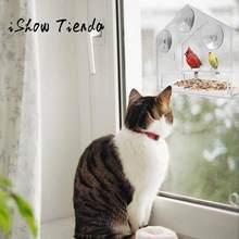 Janela de vidro transparente visualização pássaro alimentador hotel mesa semente amendoim pendurado sucção alimentador pajaros # srn