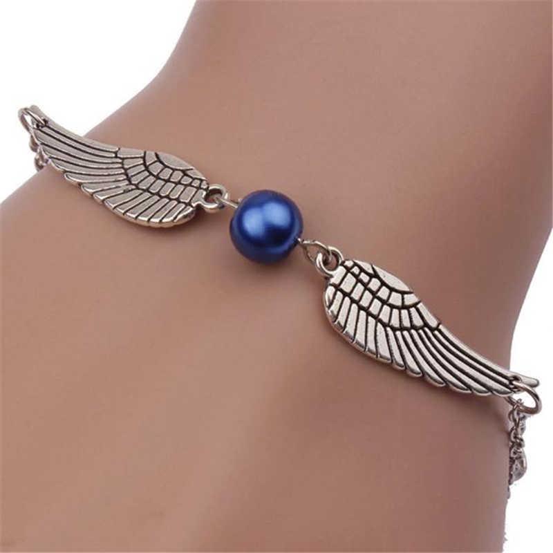 Stylowa dzika bransoletka moda damska Retro perła skrzydła anioła modna biżuteria bransoletka elegancka dama wysokiej jakości bransoletka BK1 L0330