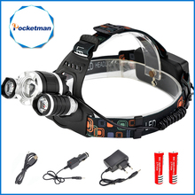 Led Headlamp 10000 Lumens Head Lamp T6+2 XPE Front Lamp Flashlight Torch Lantern Head Light 18650 + Charger For Camping Hiking