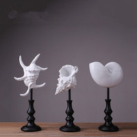 MRZOOT Vintage Porch Art Sculpture Creative White Shell Nordic Household Goods Decoration Statue Crafts Jewelry Geometry
