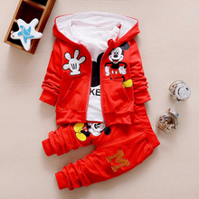 2019 for Chidren Kids Boys Clothing Set Autumn Winter 3 Piece Sets Hooded Coat Suits Fall Cotton Baby Boys Clothes Minnie Mouse цена 2017
