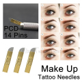 50PCS PCD 14 Pins Tattoo Needles Permanent Makeup Eyebrow Microblading Blades Manual Tattoo Supplies Individual Pack