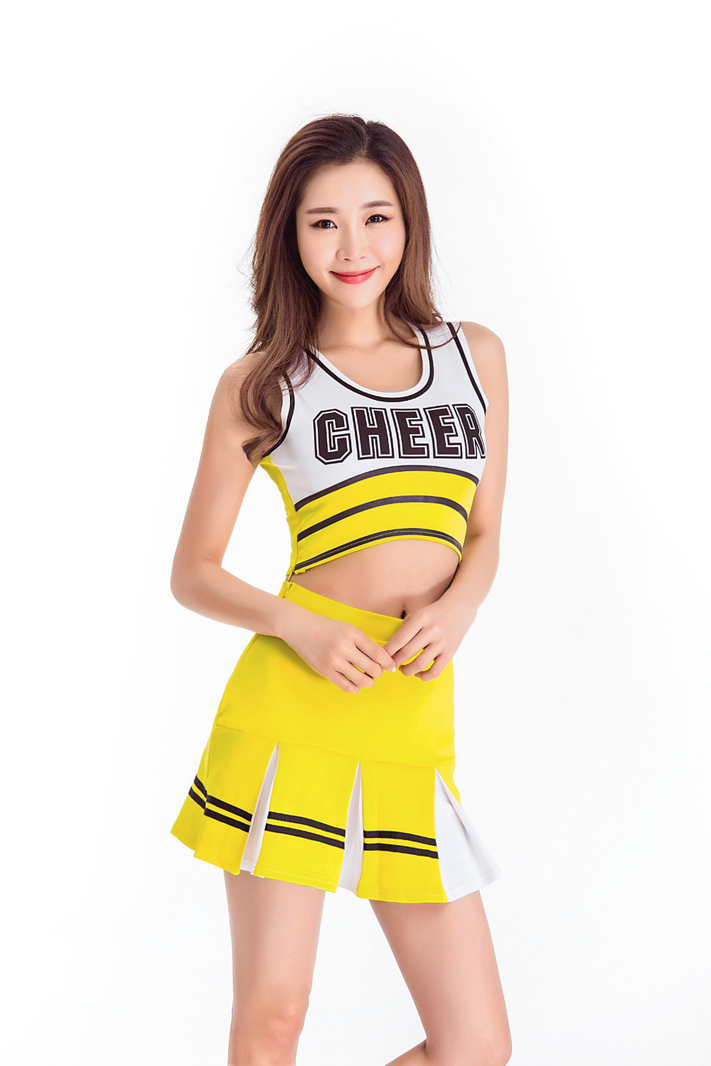 Female Sexy Cheerleading Uniform High School Cheer Musical Glee Cheerleader Costumes Fancy Dress Top+Skirt